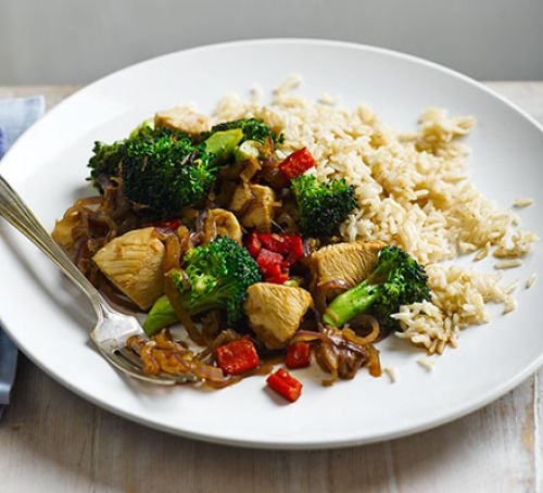 Stir-fried chicken with broccoli & brown rice