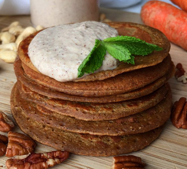Carrot pancakes with cashew cream