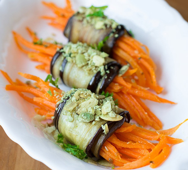 Eggplant rolls with Korean carrots